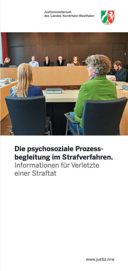 Titelseite des Flyers Psychosoziale Prozessbegleitung