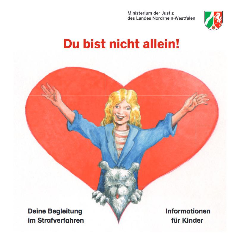 """Titelseite der Broschüre des Justizministeriums: """"Du bist nicht allein!"""""""