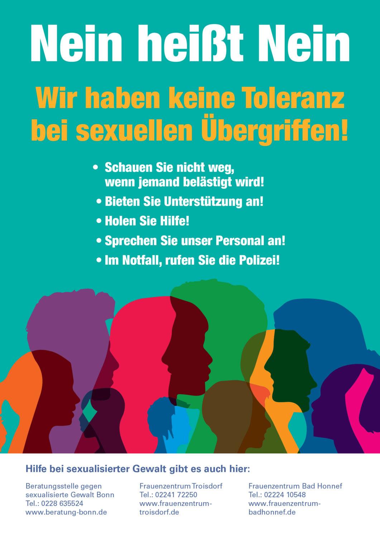 """Plakat zur Kampagne """"Nein heißt Nein - Wir haben keine Toleranz bei sexuellen Übergriffen!"""""""